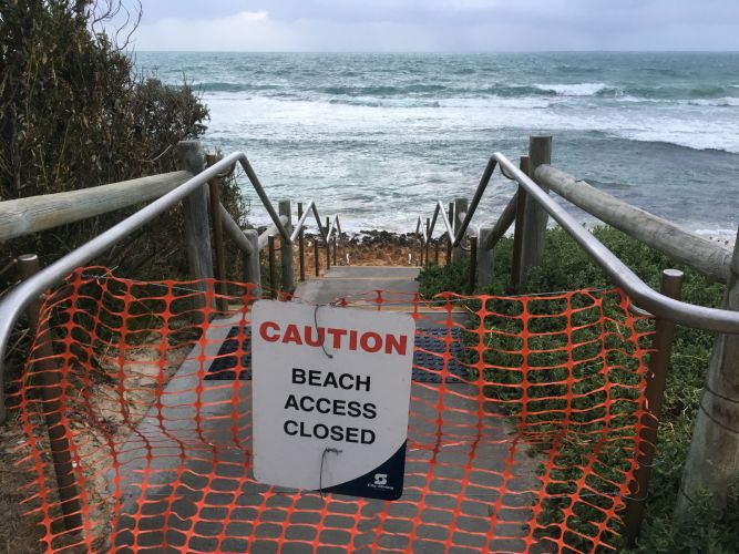 Stairs closed at North Beach. Picture: J Bianchini