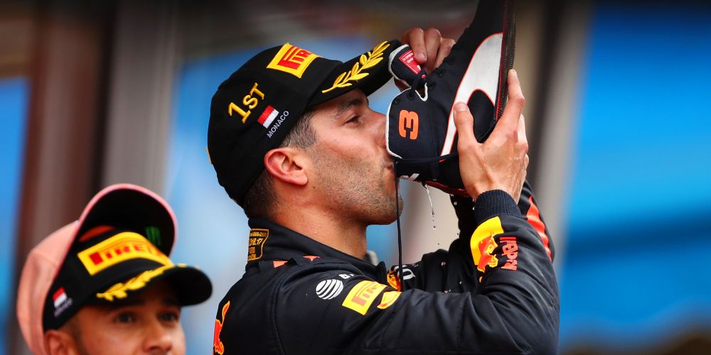 Daniel Ricciardo celebrates his win at Monaco with a shoey. Picture: Dan Istitene/Getty Images