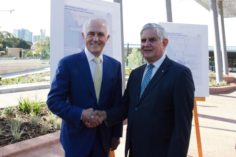 Hasluck MHR Ken Wyatt with Prime Minister Malcolm Turnbull in April at the launch of a multibillion-dollar WA infrastructure package. Picture: Supplied