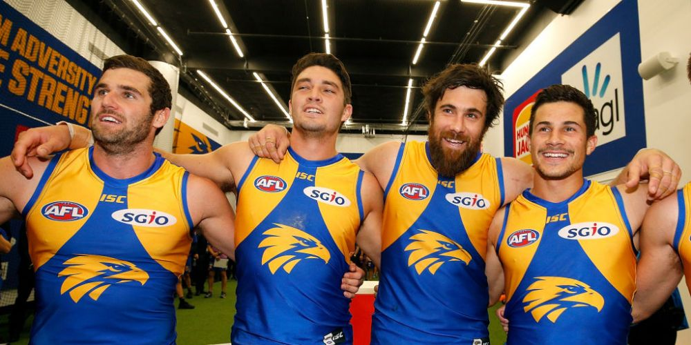 Jack Darling, Tom Barrass, Josh Kennedy and Liam Duggan. Picture: Paul Kane/Getty Images