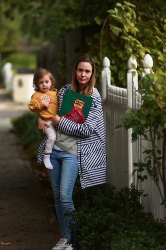 Shenton Park resident Katie Porter with daughter Audrey Porter (20 months). Katie is one of many hitting the streets for the Save Subi campaign with petitions and brochures about the proposed town planning scheme. Picture: Andrew Ritchie www.communitypix.com.au   d483254