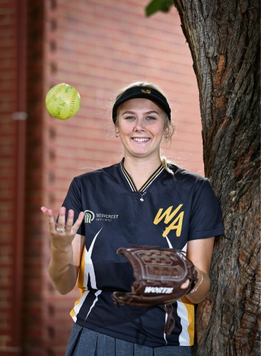 Holly Touchell (17) of Morley. WA state team and Morley Eagles softball player and La Salle College student Holly Touchell has been selected in the Australian under-19s squad to play in the International Friendship Series held from July 9 to 13 at Redlands Softball Australia. Picture: David Baylis www.communitypix.com.au d483144