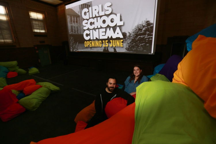 Sally Hall (Program Coordinator) and Justin Marshman (producer). A new boutique winter cinema will be housed in a stunning castle-like building at Perth Girls School. First program goes from June 15 to Septmeber 29. Photo: Andrew Ritchie