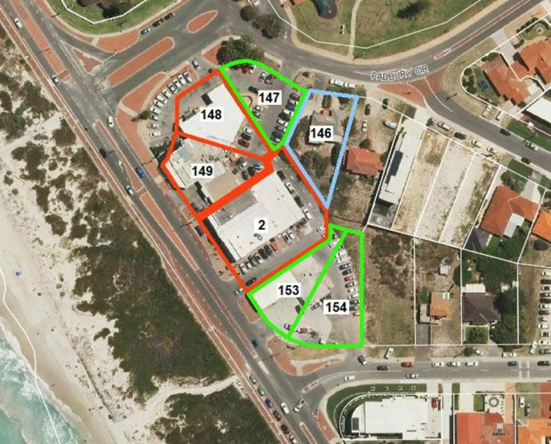 The development will now consist of five storeys across lots 148, 149 and 2 (red), four storeys across lots 147, 153 and 154 (green), and three storeys on Lot 146 (blue).