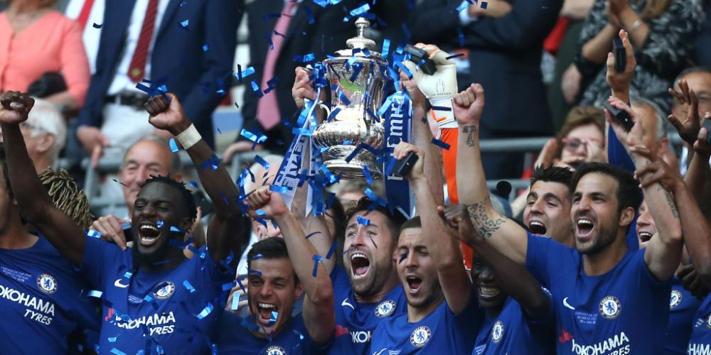 Chelsea's Gary Cahill lifts the FA Cup after Chelsea beat Manchester United at Wembley Stadium on May 19. Picture: Rob Newell/CameraSport/Getty Images