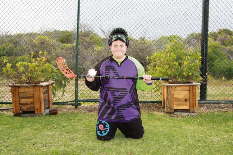 Luke Posik in his floorball kit.