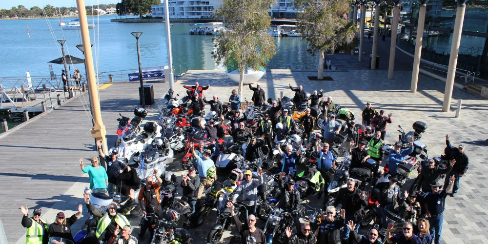 More than 50 Ulysses Motor Cycle Club members gathered outside Mandurah Performing Arts Centre this morning.