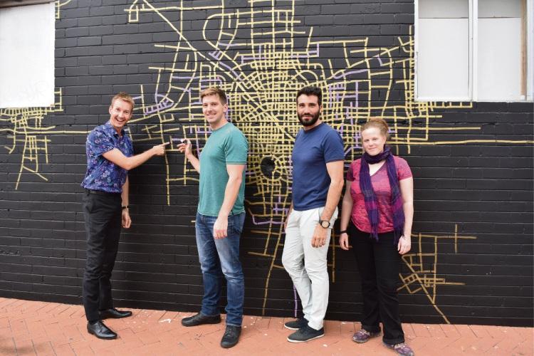 Bayswater artist George Wilkinson with Morley Momentum members Giuseppe Russo (Morley), Jess Hunt (Morley) and Steven Ostaszewskyj (Bayswater).