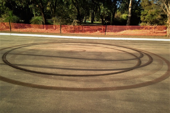 Wheelie damage at the newly-laid carpark in Morgan John Morgan Park. Picture: Supplied