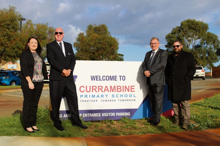 Joondalup MLA Emily Hamilton, Currambine Primary School principal Geoff Smith, Burns Beach MLA Mark Folkard and school board president Mike Bush.