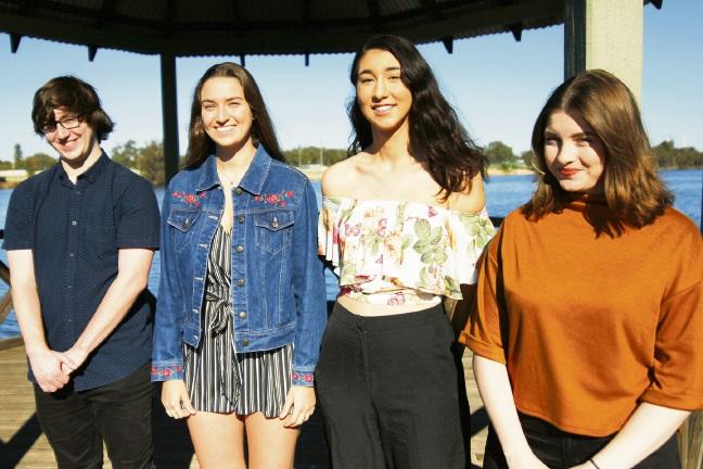 Scholarship winners Lucas Risebrow, Hannah O'Brien, Jade Agius and Katelin Montgomery.