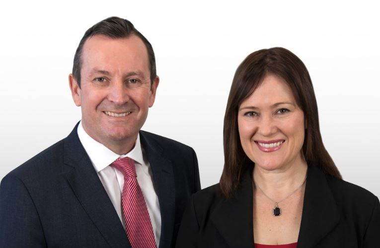 Premier Mark McGowan and Tania Lawrence.