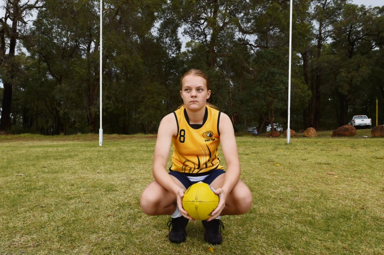 Poppy Stockwell has been selected in the U15 Girls WA Football team.Picture: Jon Hewson