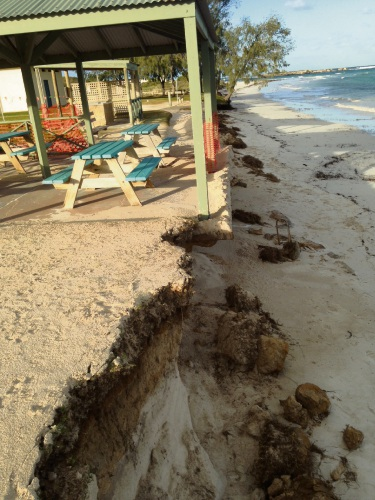 Erosion caused by storms has damaged Grace Darling Park in Lancelin.