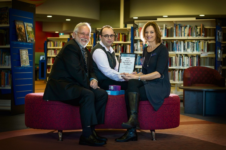 Pictured (L-R) Henry Zelones (Armadale Mayor), Andrew Kelly (Digital Services Officer), Sue Gilbert (Cecil Andrews College). Photo: Will Russell