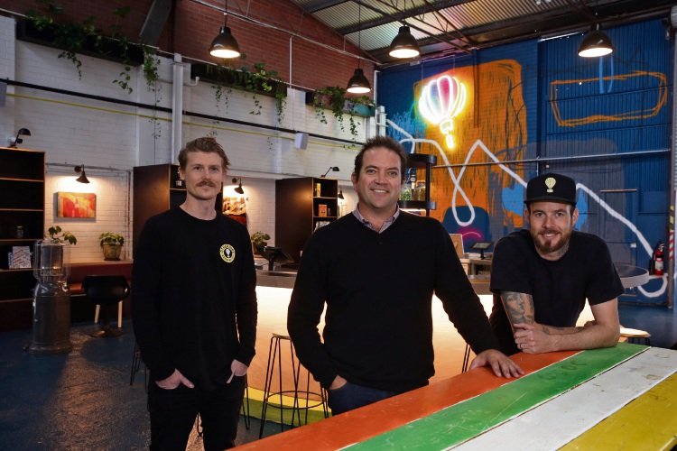 Otherside Brewing Company brand manager Gavin Feilding, director David Chitty and brewhouse manager Ash Black at the company's new brewhouse. Picture: Martin Kennealey.