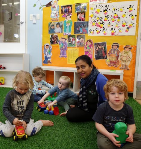 Shani Seneviratne (centre manager) with Jesse Wade, Viviane Coogen, Joshua Lewis and Charlie Pollard. Picture: Martin Kennealey www.communitypix.com.au   d483474