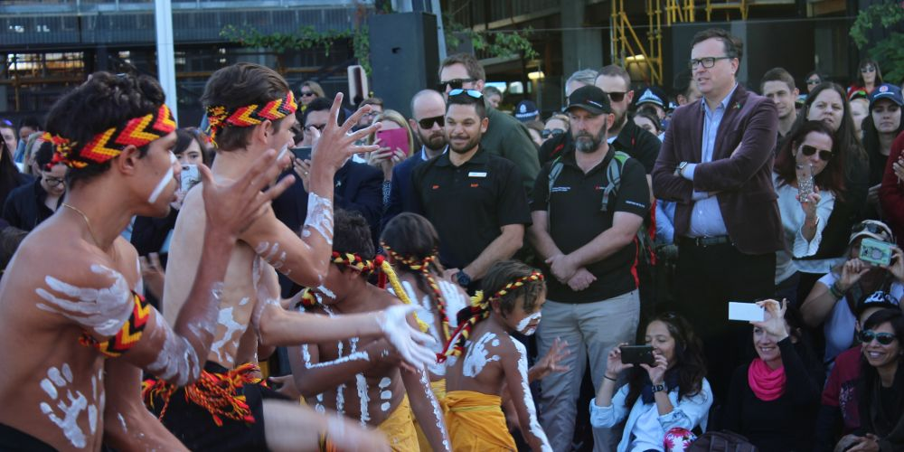 Noongar dancers at Elizabeth Quay for National Reconciliation Week.
