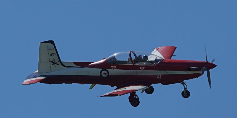 A PC-9/A flying over Perth. Picture: Matt Beilken