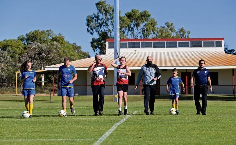 L-R: Kate Murphy (Noranda City Football Club Women's Team), Kyran Broadhurst (Noranda City Football Club Amateur Menâ¿¿s Team), Evan Crute (Bayswater Little Athletics Chairperson), Eliot Hombergen Crute (Bayswater Little Athletics), David Bruce (Football West Referees), Kenny Hoyle (Noranda City Football Club Juniors) and Clyde Stotzer (Noranda City Football Club Seniors President). Photo: David Baylis