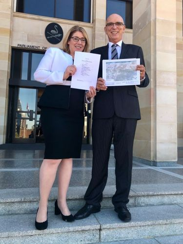 Transport Minister Rita Saffioti and Butler MLA John Quigley introduce legislation for Metronet projects to State Parliament.