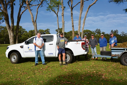 All Ford Day organiser David Brathwaite, RDA Carine president Brian McNamara (RDA Carine President) and volunteers with the new ute.