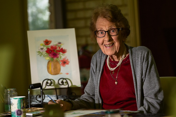 Helen Gurney celebrated her 102nd birthday today at her weekly art class.