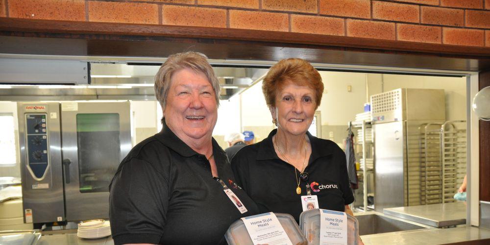 Lois Portelli and Phyllis Paganoni are happy volunteers at Chorus.