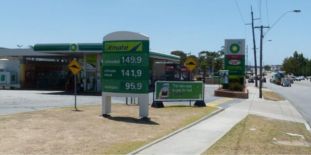 The BP service station.