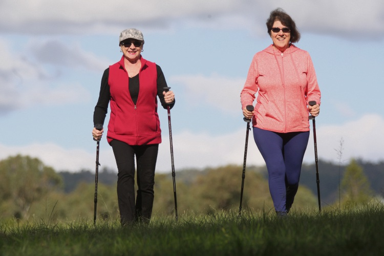 June Copley and Roslyn Baker enjoying some pole walking in Armadale. Picture: Bruce Hunt.