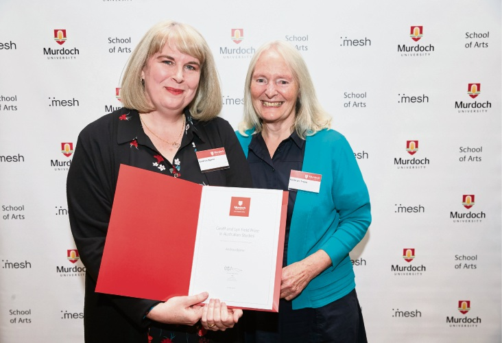 Leeming resident Andrea Byrne celebrates winning the Geoff and Lynn Field Prize with honours supervisor Dr Kathryn Trees.