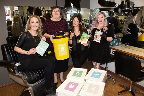 Oschea Hair and Beauty owner Susan Ripley with South Metropolitan MLC Kate Doust and staff Cecile Marceron and Jacinta Hough.