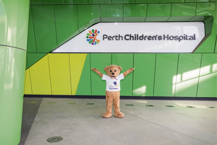 Perth Children's Hospital mascot Stitches settles into new