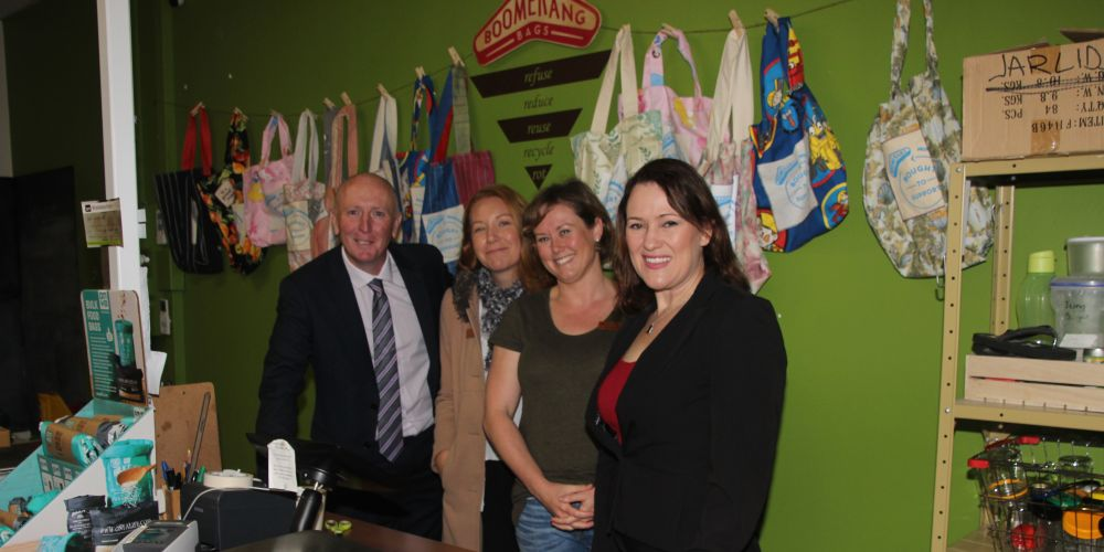 Stephen Dawson with Wasteless Pantry owners Jeannie Richardson, Amanda Welschbillig and Labor's Darling Range Labor candidate Tania Lawrence.