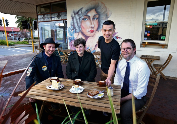 Leonardo Flavel (Studio 281), Daek William (Artist), Aaron Ho (Owner Mrs S) and Cr Dan Bull (Bayswater Mayor).  Seen here in front of Mrs S in Maylands with the new alfresco area and the new wall mural painted by Daek.  Artist Daek William just completed a new mural outside of Mrs S. The mural, funded by the City of Bayswater and supported by Studio 281, is a tribute to Mrs S Harpon who had a tea shop and confectioners on the Whatley Crescent strip. A kerbside alfresco was also recently finished. Picture: David Baylis www.communitypix.com.au d483621