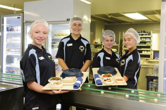 Claudia Russell, George Bampton, Olivia Anderson and Meah Tattam undertaking the health support services school-based traineeships at Joondalup Health Campus.