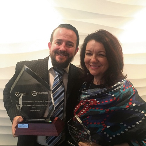 WesCef procurement specialist Desmond Roche and Aboriginal Development Constultant Noelene Mantellato at the Western Australian Transport, Supply Chain and Logistics Awards.