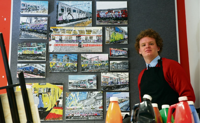 Christopher Hummel (Year 11) with some of his artwork. Picture: Martin Kennealey d483494