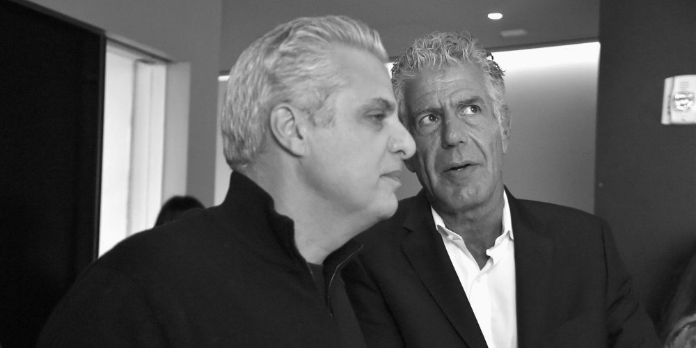 NEW YORK, NY - NOVEMBER 07:  (EDITOR'S NOTE: This image has been converted to black and white)   Chefs Eric Ripert (L) and Anthony Bourdain attend a screening of