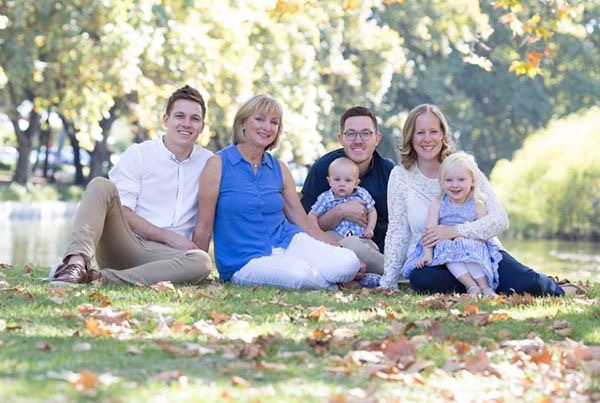 Lyn Foreman with sons Mark (left) and Glen, daughter-in-law Sarah and grandchildren Johnathan and Charlotte. Picture: Daniel Wilkins