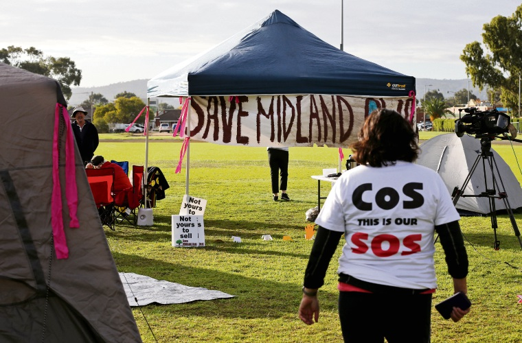 Protesters camped out on Midland Oval. Pictures: David Baylis d483800