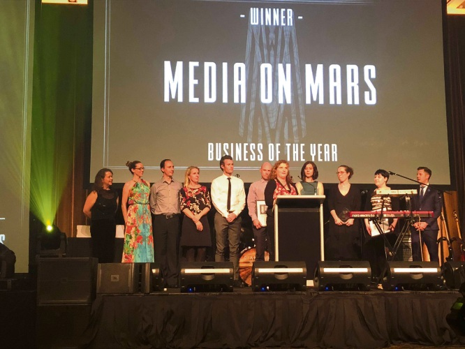 Media on Mars on stage at the Fremantle Chamber of Business Awards.