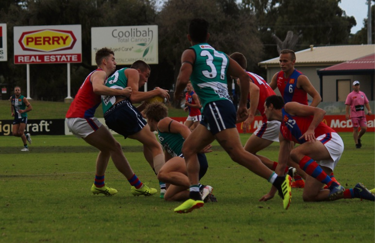 It was a tight contest for the ball between Peel Thunder and West Perth.