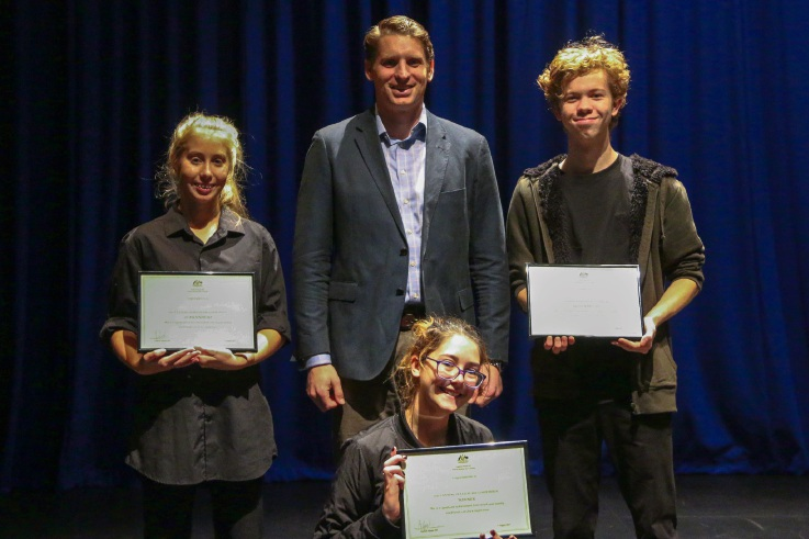 Canning Shakespeare Competition winners with Canning MHR Andrew Hastie.