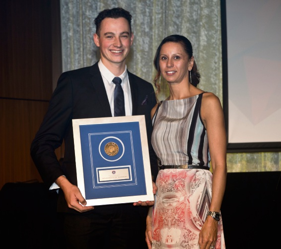 Youth Lifesaver of the Year Angus McMillan (Scarboro SLSC) with Jacqueline Connolly.