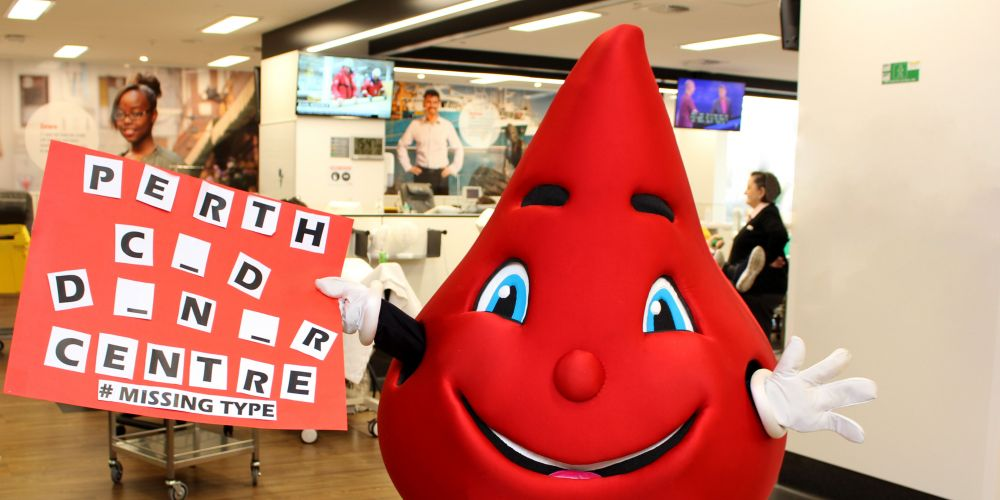 Billy the Blood Drop at the Perth CBD Donor Centre.
