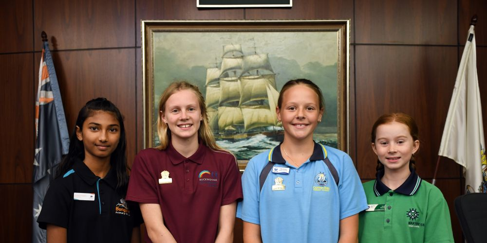 City of Rockingham Junior Mayors Keira Fuller and Ella Smith, flanked by Deputy Mayors Sharol Naidu and Emily Musson. Picture: City of Rockingham