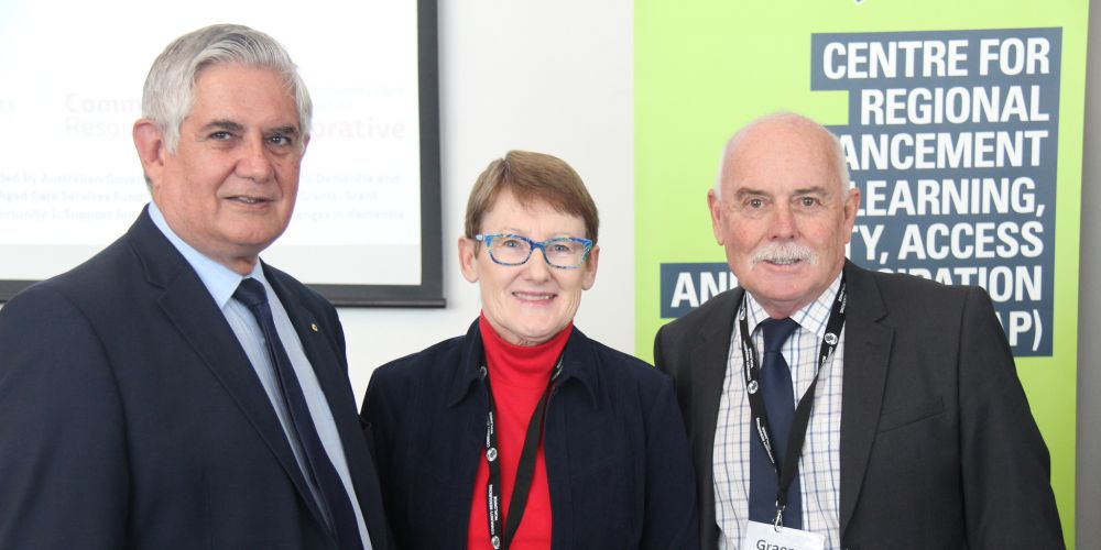 Aged Care Minister Ken Wyatt at the project launch with carer Graeme Noonan and his wife Vicki who has dementia.