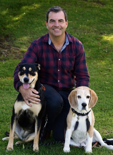 Stirling Mayor Mark Irwin with his dogs Tess and Max. Picture: Martin Kennealey d483734