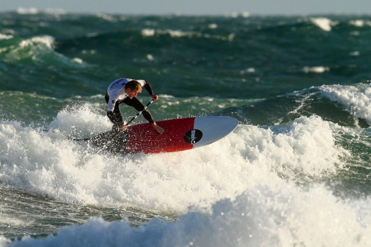 Chris Twomey, of Karrinyup, in action at the WA SUP Titles. Picture: Surfing WA/Woolacott
